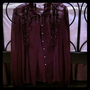 Deep purple silk blouse and camisole